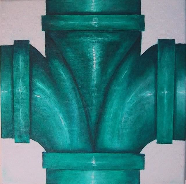 """Painting titled """"Green Pipe"""" by Gina Acord, Original Art, Oil"""