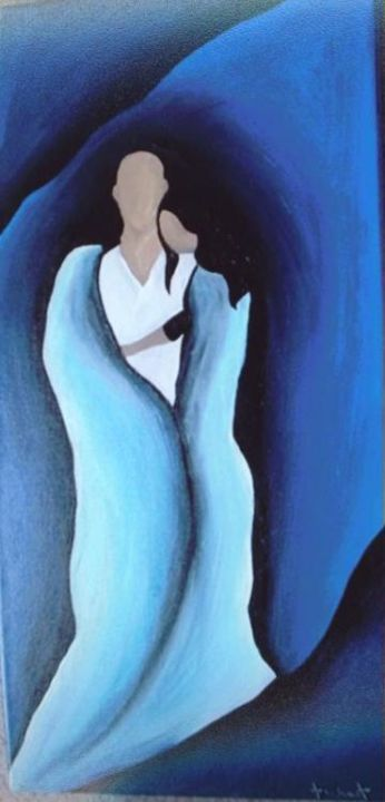 Embrace - Painting,  12x24 in ©2005 by Chaundra Saenz -
