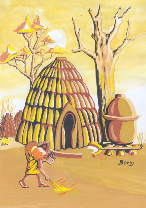 Maison traditionelle Massa du Nord du Cameroun Painting by