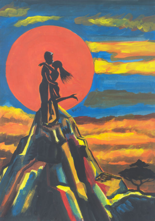 On The Summit of Love - Painting ©2014 by Emmanuel Baliyanga -                            Abstract Expressionism, Art, Africa, Cameroon, love, African people, couples, couple in love, couple kissing, couple hugging, men in love, women in love, summit of love, mountains, sun, sunset, Valentines