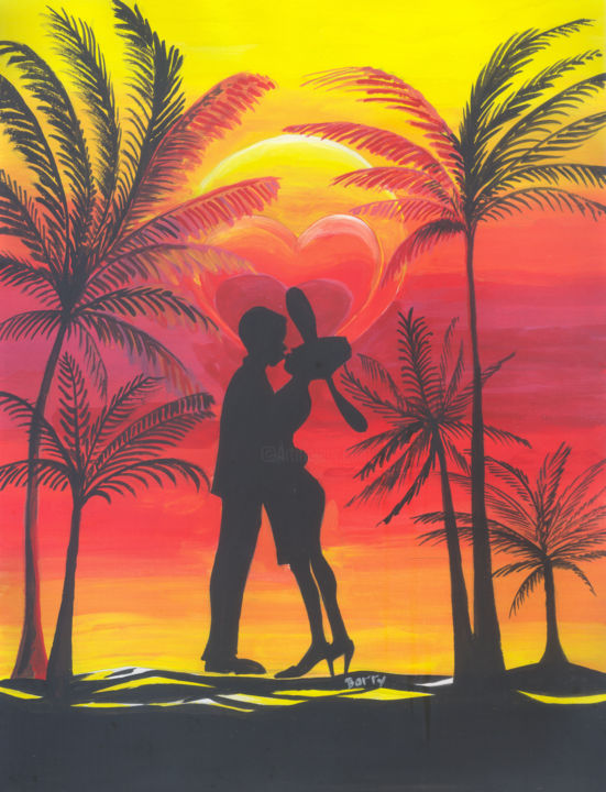 Love Under The Coconut Trees - ©  art, africa, cameroon, love, african people, couples, couple in love, couple kissing, couple hugging, men in love, women in love, summit of love, trees, palm trees, coconit trees, sun, sunset, valentines Online Artworks