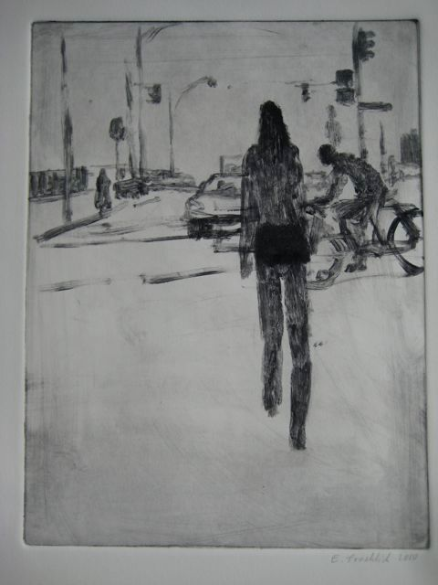 Traffic 11 - Painting,  9x12 in ©2010 by Eb -            Pedestrian, bicyclist, automobile, traffic light