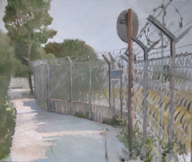 Tempelhof - Painting,  50x60 cm ©2009 by Eb -            Sunlight, fence with razor wire