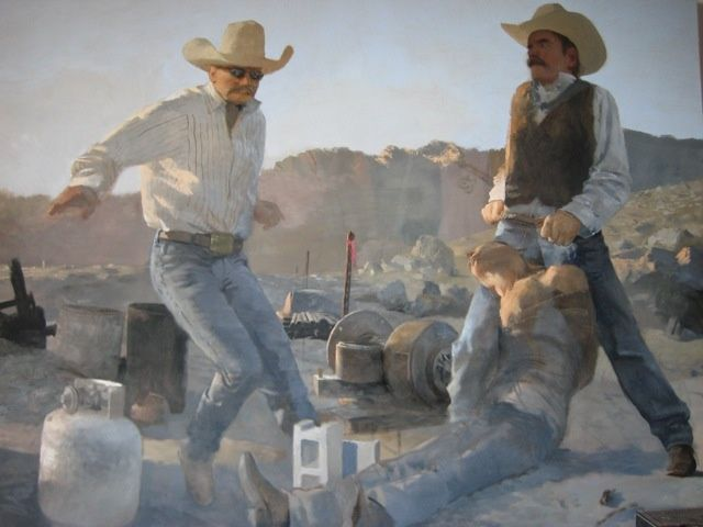 An Honest Mistake - Painting,  72x56 in ©2008 by Eb -            Three cowboys interacting in a barren landscape