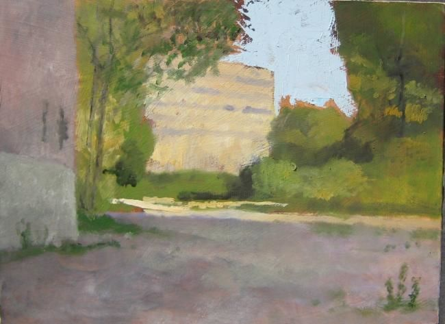 Early in the Day - Painting,  9x12 in ©2013 by Eb -            sunlight on vacant lot
