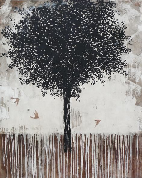 Le Grand arbre / vendu - Painting,  59.1x47.2 in, ©2012 by Ebro -