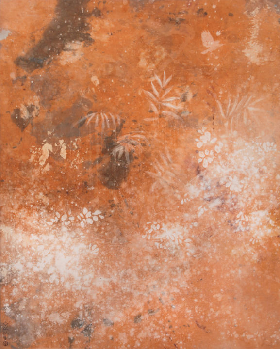 jardin (5) - Painting,  63.8x51.2 in, ©2013 by Ebro -