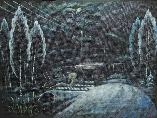 The road at night - Painting,  30x40 cm ©2012 by Евгений Чекалов -                            Realism, The road at night