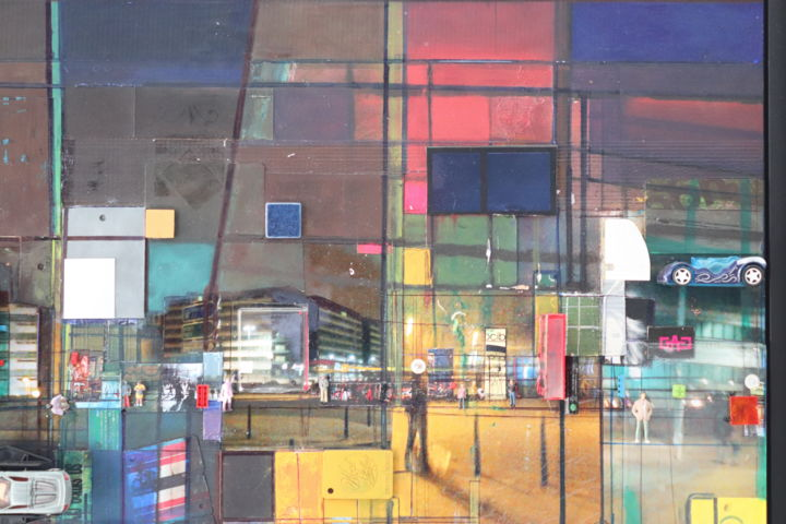 SUBURBAN NIGHT - Mixed Media,  60x65x6 cm ©2013 by Edcha -
