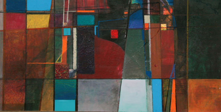 AXIOMES - Painting,  15.8x31.5x2 in, ©2019 by Edcha -                                                                                                                                                                          Abstract, abstract-570, Architecture
