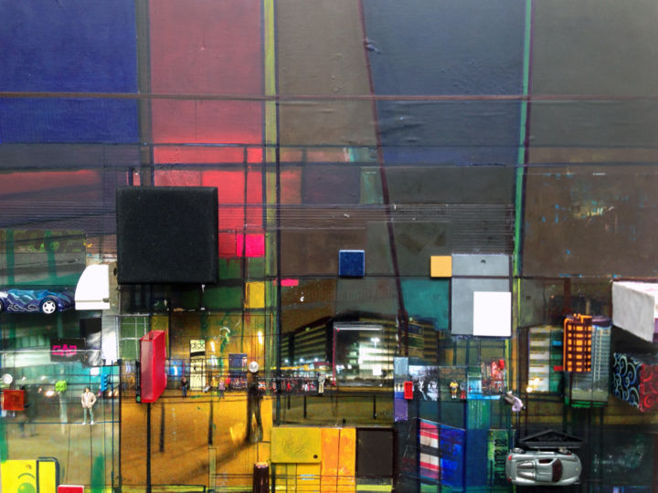 SUBURBAN NIGHT - Collages,  23.6x31.5x2.8 in, ©2016 by Edcha -                                                                                                                                                                          Abstract, abstract-570, Architecture