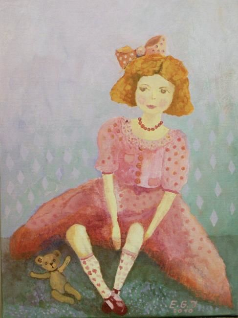 """Painting titled """"Doll I"""" by Edita Januskeviciene, Original Art, Other"""