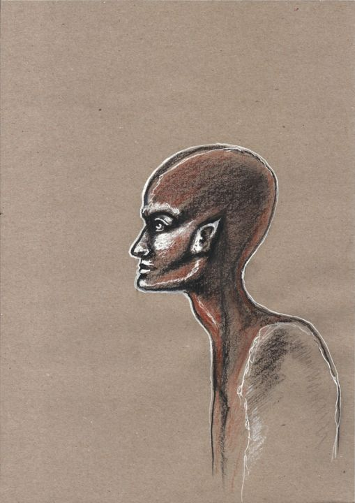 Étrange - Drawing,  29x21 cm ©2018 by EDITH DONC -                                                        Figurative Art, Paper, People