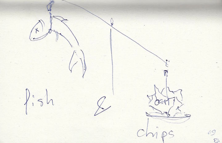 Fish & chips - Drawing,  9x14 cm ©2009 by EDITH DONC -                                                                                Expressionism, Paper, Animals, Nature, Politics