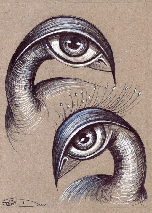 Doublus - Drawing,  18x14 cm ©2018 by EDITH DONC -                                                                        Illustration, Surrealism, Paper, Birds, piou piou