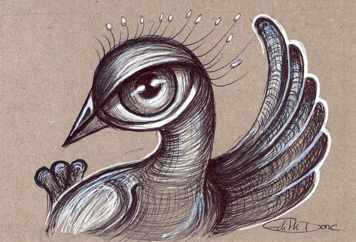 Ola - Drawing,  10x15 cm ©2018 by EDITH DONC -                                                            Surrealism, Paper, Birds, Piou piou