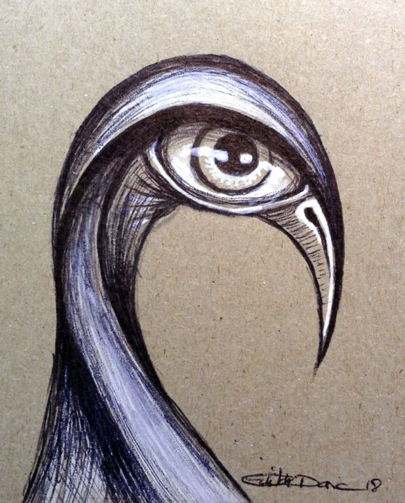 Pi'you - Drawing,  10x7 cm ©2018 by EDITH DONC -                                                            Environmental Art, Paper, Birds, piou piou