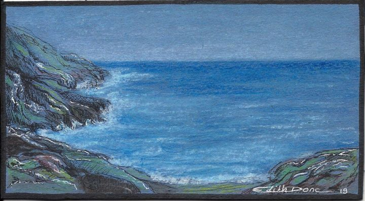 Une nuit - Drawing,  8x14.5x0.1 cm ©2019 by EDITH DONC -                                                                        Illustration, Pulpboard, Nature, Seascape, mer, nuit, edith donc