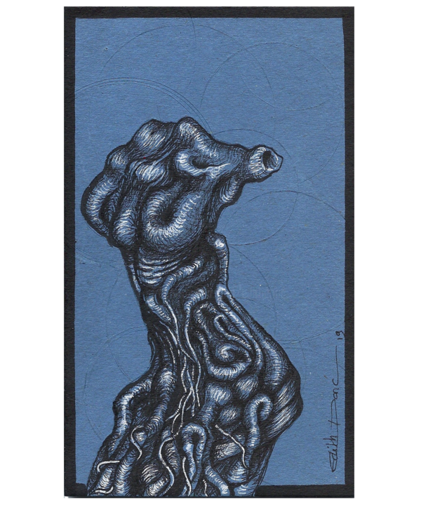 Trognus Corpus Nudo - Drawing,  16x9.6x0.1 cm ©2019 by EDITH DONC -                                                                                    Surrealism, Pulpboard, Tree, Body, Nature, edith donc, trogne