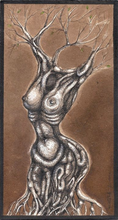 Trognus Féminus - Drawing,  20x11x0.01 cm ©2019 by EDITH DONC -                                                                            Surrealism, Tree, Body, Nature, Erotic