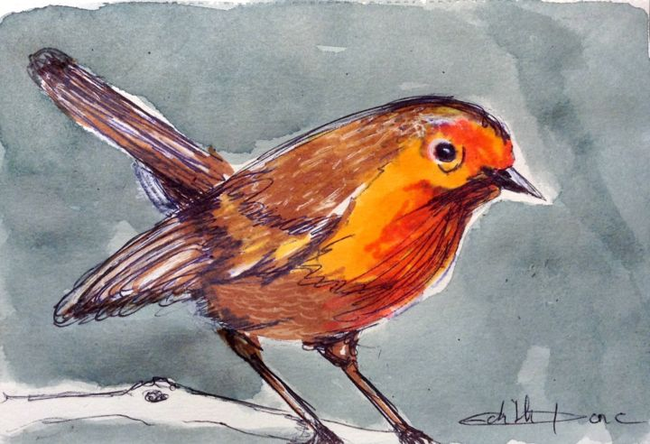 Petit oiseau - Drawing,  3.9x5.9 in, ©2020 by EDITH DONC -                                                                                                                                                                                                                                                                      Expressionism, expressionism-591, Nature, Birds, rouge gorge