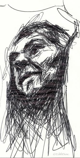 Croquis - Drawing,  12x20 cm ©2012 by EDITH DONC -                                                        Expressionism, Paper, Portraits