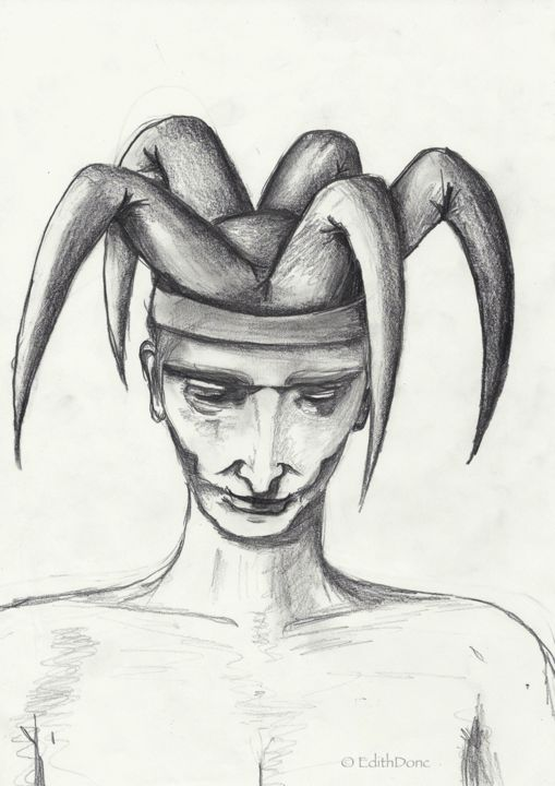 Joker - Drawing,  11.4x8.3 in, ©1996 by EDITH DONC -                                                                                                                                                                          Figurative, figurative-594, People