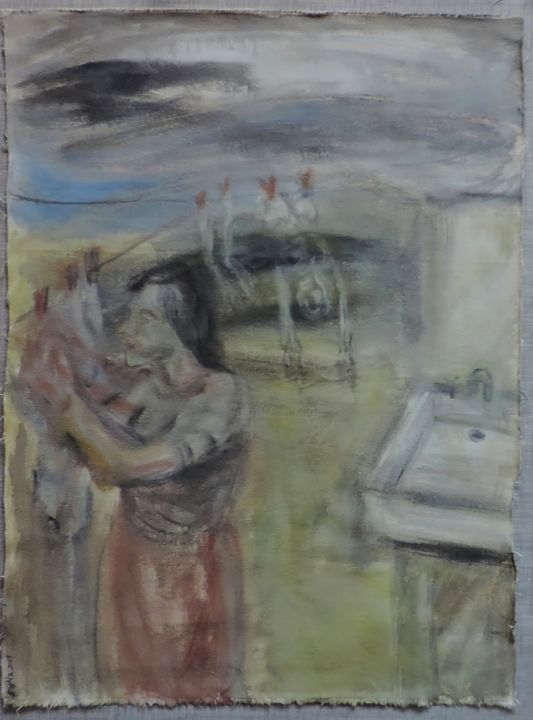 Los presentes - Painting,  29.5x22.8 in, ©2015 by Edna Cantoral Acosta -
