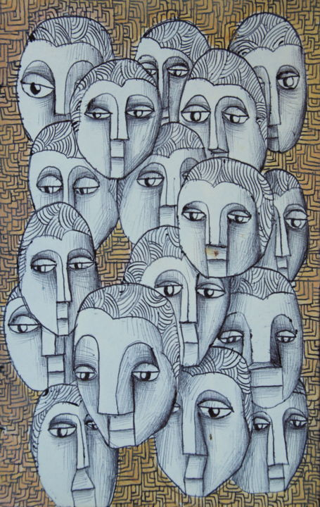 Slippery looks - Drawing,  21x15x0.3 cm ©2016 by Edouard Leruste -                                                            Surrealism, Paper, Aerial, crowd, people, watch, vision, regards, oeil, futur, dessin, stylo, noir et blanc, gouache
