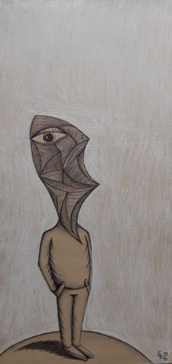 Faceless Man - Drawing,  17.7x9.5x0.5 in, ©2018 by Edouard Leruste -                                                                                                                                                                                                                                                                                                                                                                                                                                                                                                                                                                                                                                          Surrealism, surrealism-627, Paper, Wood, Aerial, Agriculture, Animals, Architecture, face, ghost, look, future, mask