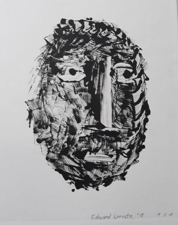 Face - Printmaking,  9.8x5.9x0.1 in, ©2018 by Edouard Leruste -                                                                                                                                                                                                                                                                                                                                                                                                                                                      Figurative, figurative-594, Portraits, face, print, blacķ and white, press, art, eyes