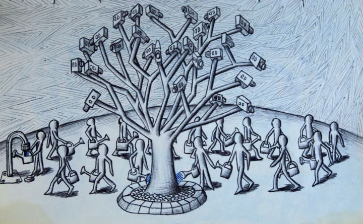 Sécuritier / Security tree - Drawing,  5.9x8.3x0.1 in, ©2017 by Edouard Leruste -                                                                                                                                                                                                                                                                                                                                                                                                                                                                                                                                                                                                                                                                                  Surrealism, surrealism-627, People, sécurité, noir et blanc, art, dessin, caméra, big brother, surveillance, nature, cyborg, tree, cyborg tree