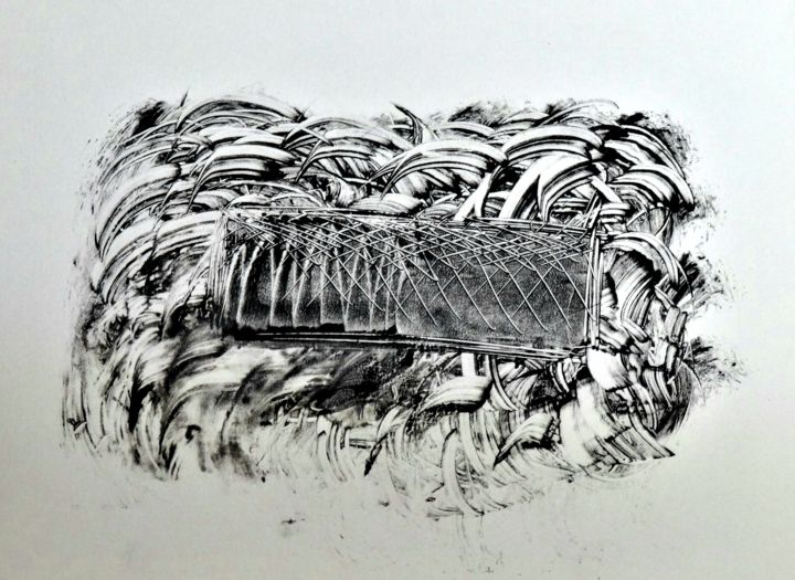 Battery low - Printmaking,  8.3x12.2x0.2 in, ©2017 by Edouard Leruste -                                                                                                                                                                                                                                                                                                                                                                                                                                                                                                  Abstract, abstract-570, Aerial, black and white, noir et blanc, art, impression, monotype, oeuvre unique, détail