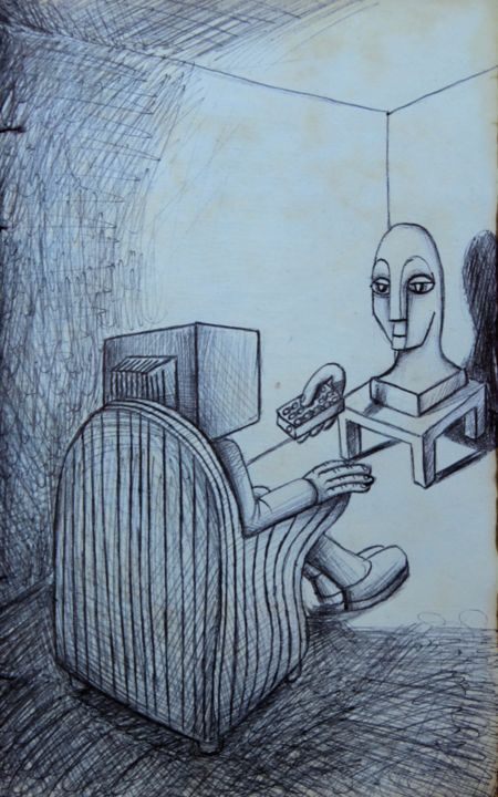 Manipulation - Drawing,  8.3x5.9x0.1 in, ©2017 by Edouard Leruste -                                                                                                                                                                                                                                                                                                                                                                                                                                                                                                                                              Surrealism, surrealism-627, Aerial, screen, tv, draw, art, black and white, dessin, surréalisme, manipulation