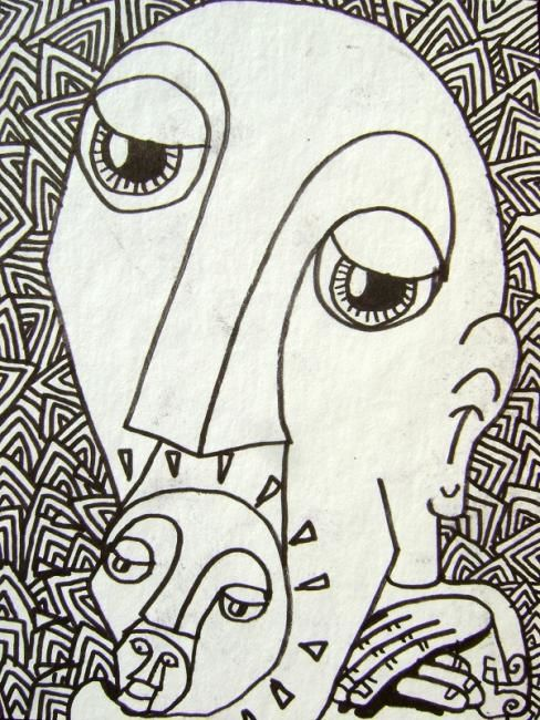 Sûres informations. - Drawing,  6.3x4.3 in, ©2011 by Edouard Leruste -                                                              Personnages surréalistes.