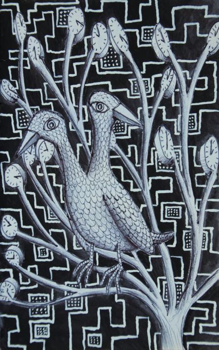 Busy bird on busy tree - Drawing,  8.3x5.9x0.1 in, ©2016 by Edouard Leruste -                                                                                                                                                                                                                                                                                                                                                                                                                                                                                                  Surrealism, surrealism-627, Animals, Tree, oiseau, nature, environnement, futur, écologique, poésie graphique