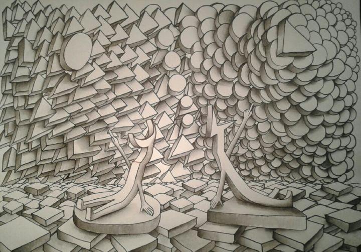 Chacun trouve midi à la porte d'à côté. - Drawing,  20x30x0.3 cm ©2017 by Edouard Leruste -                                                                                                Surrealism, Paper, Black and White, Science, Science-fiction, Spirituality, regards, voisins, individualisme, jugement, gravité, attraction, cosmos