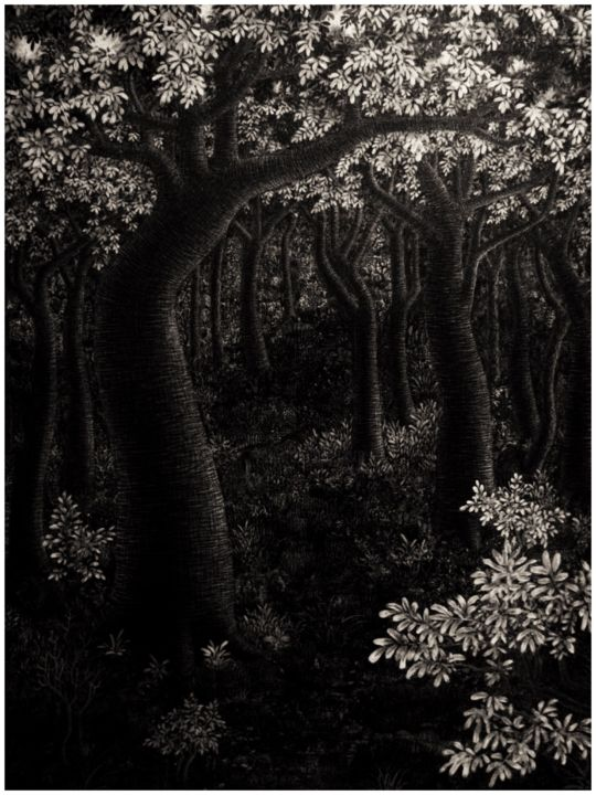 Forest - Painting,  47.2x35.4x0.4 in, ©2017 by Sarn Monday -