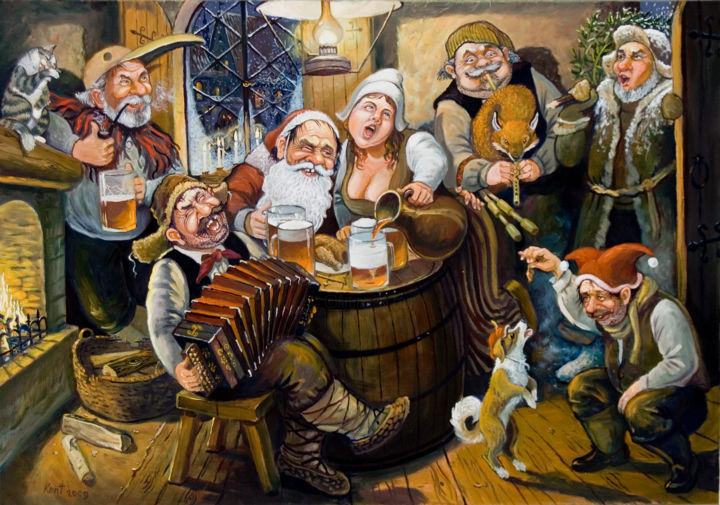 """Painting titled """"Christmas party"""" by Eduard Kont, Original Art, Oil"""