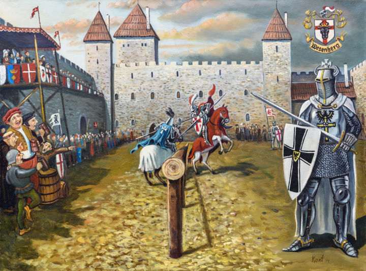 """Painting titled """"Knight fights"""" by Eduard Kont, Original Art, Oil"""