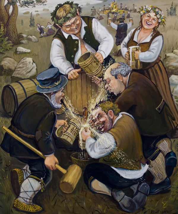 """Painting titled """"Opening a beer barr…"""" by Eduard Kont, Original Art, Oil"""