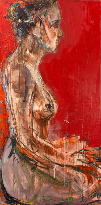 """Painting titled """"Nude on red"""" by Eduard Belsky, Original Art, Oil"""
