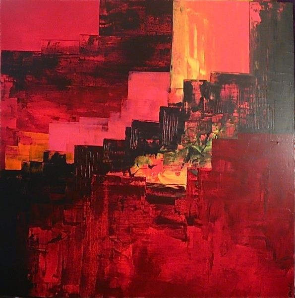 Painting,  100 x 100 cm ©2012 by Leprin -  Painting, Abstract Painting, ABSTRAIT, LEPRIN, ART, ARTISTE, IMAGINATION, REVE, SOIR, CONTE ET LEGENDE, CONTEMPORAIN, ROUGE, BLANC, AMOUR, TENDRESSE, ABSTRAIT, COULEUR, BLEU, ABSTRACTION, EXPOSITION, GALERIE ROUGE CARMIN, COLOMBES