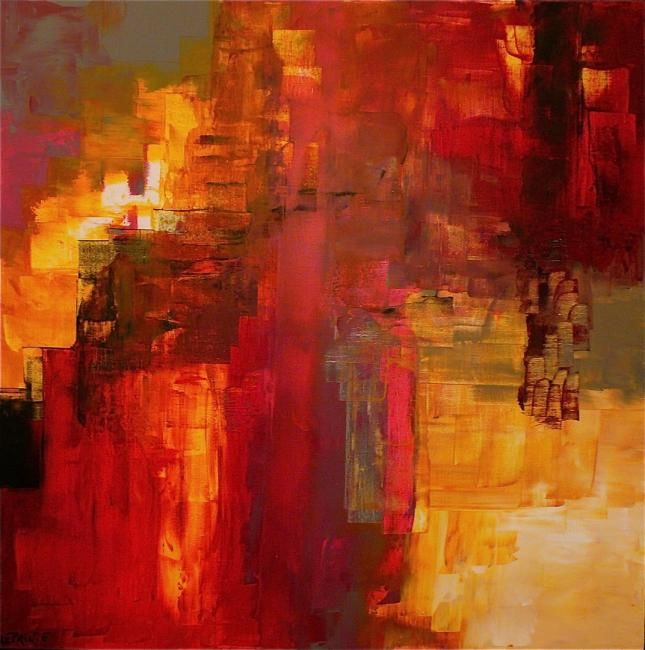 Painting,  90 x 90 cm ©2012 by Leprin -  Painting, Abstract Painting, ABSTRAIT, LEPRIN, ART, ARTISTE, IMAGINATION, REVE, SOIR, CONTE ET LEGENDE, CONTEMPORAIN, ROUGE, BLANC, AMOUR, TENDRESSE, ABSTRAIT, COULEUR, BLEU, ABSTRACTION, EXPOSITION, GALERIE ROUGE CARMIN, COLOMBES