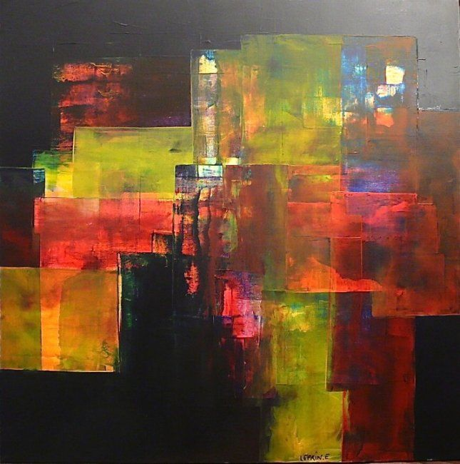 Painting,  80 x 80 cm ©2012 by Leprin -  Painting, Abstract Painting, ABSTRAIT, LEPRIN, ART, ARTISTE, IMAGINATION, REVE, SOIR, CONTE ET LEGENDE, CONTEMPORAIN, ROUGE, BLANC, AMOUR, TENDRESSE, ABSTRAIT, COULEUR, BLEU, ABSTRACTION, EXPOSITION, GALERIE ROUGE CARMIN, COLOMBES