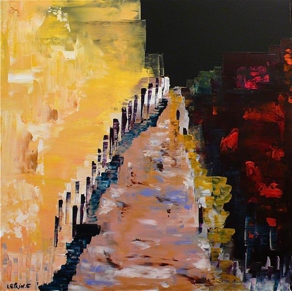Painting,  60 x 60 cm ©2012 by Leprin -  Painting, Abstract Painting, ABSTRAIT  LEPRIN ART ARTISTE IMAGINATION REVE SOIR CONTE ET LEGENDE CONTEMPORAIN ROSE BLANC AMOUR  TENDRESSE ABSTRAIT COULEUR BLEU ROUGE ABSTRACTION EXPOSITION COLOMBES