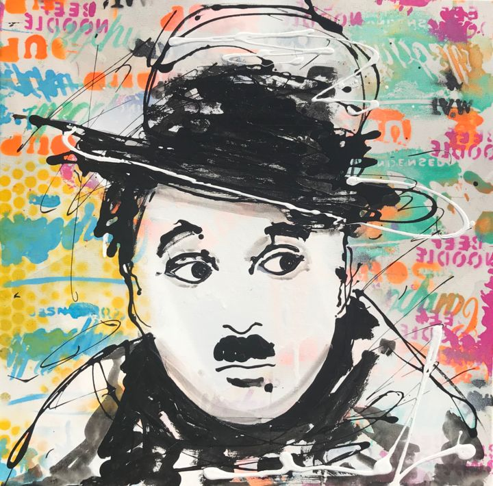 Charlie Chaplin - Painting,  19.7x19.7x1.2 in, ©2020 by Edwige Col -                                                                                                                                                                                                                                                                      Pop Art, pop-art-615, Celebrity, charlie chaplin, pop art