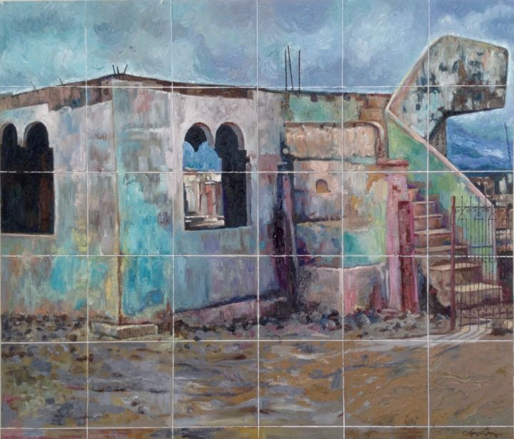 """Painting titled """"Ruins"""" by Edwin Jumalon, Original Art, Oil Mounted on Stretcher frame"""