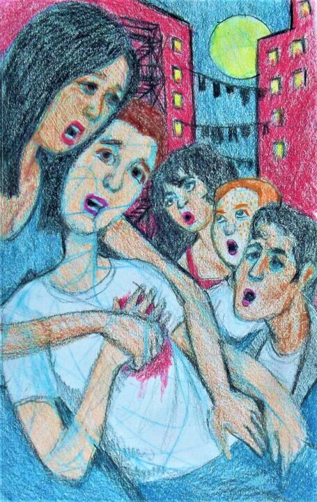 """Drawing titled """"West Side Story"""" by Edwin Loftus, Original Art, Pastel Mounted on Other rigid panel"""
