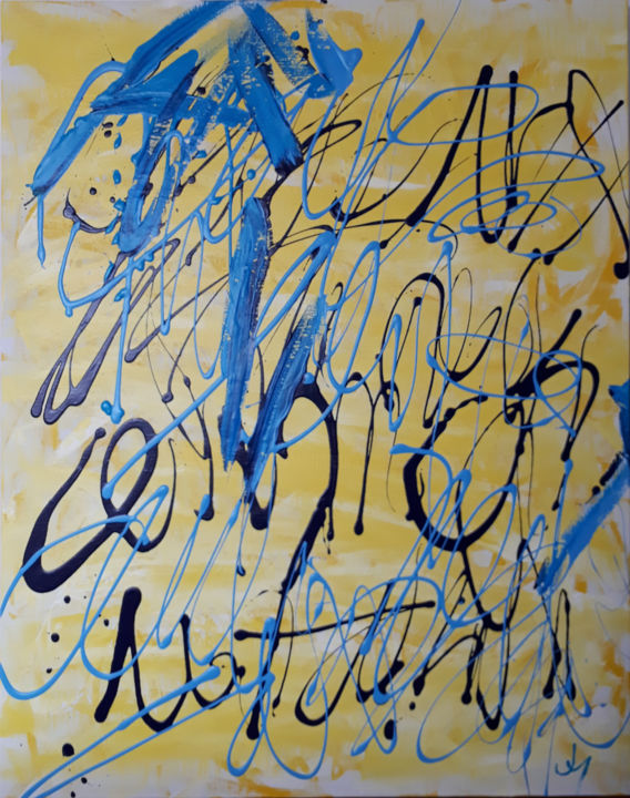 """Painting titled """"LOGOS2"""" by Pinky, Original Art, Acrylic Mounted on Wood Panel"""